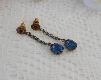 Montana Earrings, Dangle Earrings, Navy Blue Earrings, Long Drop Earrings, Crystal Earrings, Old Hollywood, Estate Jewelry, Chain Studs