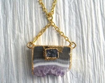 Amethyst Druzi Gold Edged Pendant on Gold Filled  14K Chain