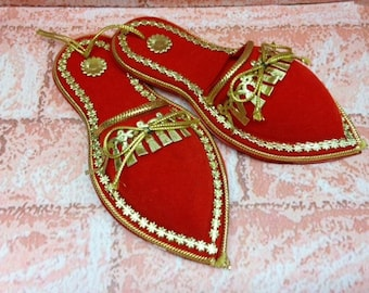 Vintage Red Slipper Ornaments – Set of Two - 1970s