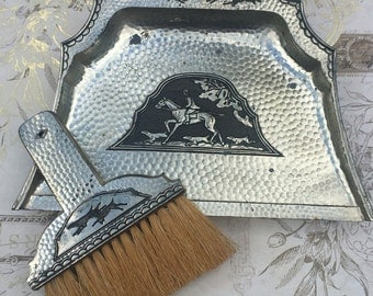 Antique Silver Plate Silent Butler Crumb Catcher Tray with Brush Fox Hunt Scene, 1920s Table Accessory, Estate Collectible