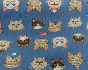 """Diamond cats and fish - 1 yard - cotton - 3 colors - cat fabric ,Check out with code """"5YEAR"""" to save 20% off"""