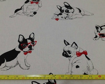 "Red glasses,Bulldog - 5 colors -1 yard - cotton linen,dog fabric, Check out with code ""5YEAR"" to save 20% off"