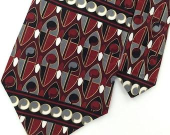 Henry Grethel Us Made Maroon Gray Abstract Art Deco Silk Men Necktie H3-418 Ties Excellent Vintage Corbata Krawatte Cravatta Cravate