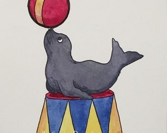 Watercolor Circus Seal Print