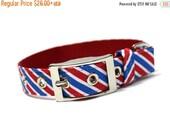 BIG Summer SALE Red and Blue Diagonal Stripes Patriotic Dog Collar