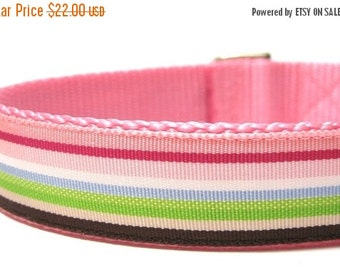 BIG SALE Pink and Brown Stripes Dog Collar