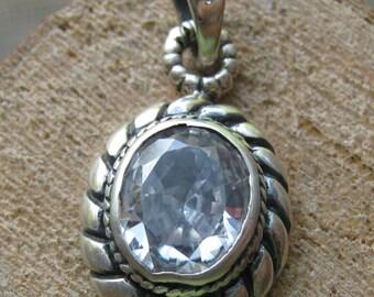 Vintage Sterling Silver Women's Pendant with Cubic Zirconium Stone Ladies