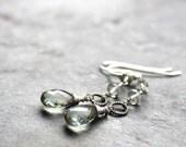 Prasiolite Earrings Green Amethyst Earrings Long Dangle Sterling Silver Mint