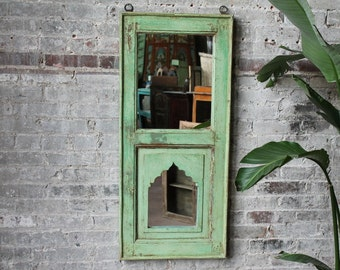 Large Moroccan Mirror Reclaimed Vintage Indian Door Panel Wall Hanging Art Distressed Seafoam Green Mirror Moroccan Decor Turkish