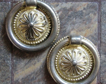 2 Vintage Small Round Drawer Ring Pulls Cabinet Handles