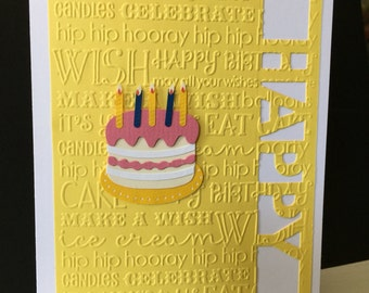 Handmade Birthday Card Embossed and Crafted Yellow