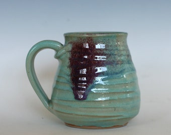 Coffee Mug Pottery, 16 oz, unique coffee mug, handmade cup, handthrown mug, stoneware mug, wheel thrown pottery mug, ceramics Sold Out