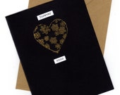 Black and Gold Valentine Card, Golden Heart Valentine Card, Black Valentine, Modern Valentine