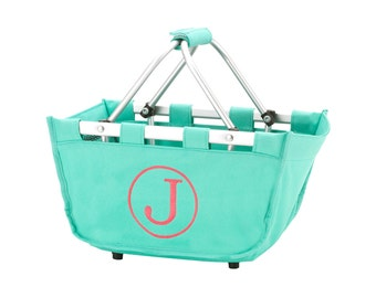 SHIPS NEXT DAY--- Monogrammed Reusable Mini Market Tote Basket Mint --The Perfect Easter Basket--Free Monogramming--