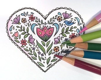 Adult coloring book Valentines