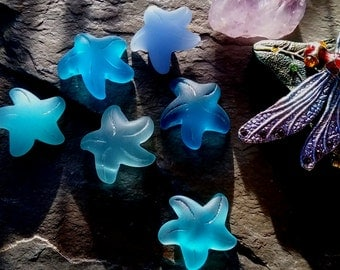 Sea Glass Starfish, Small, 20x7mm, Teal, Opaque Sky Blue, Pacific Blue, Turquoise Bay, Opal Blue, Priced per Piece