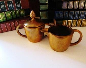 Vintage Brass Cream and Sugar Set, Hollywood Regency, Brass Creamer, Brass Sugar Bowl
