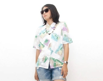 SUPER SALE ON Sale/Vintage 90s Shirt/90s Abstract Shirt/Sheer White Green Turquoise Purple Watercolor Abstract Print Short Sleeve Shirt, Lar