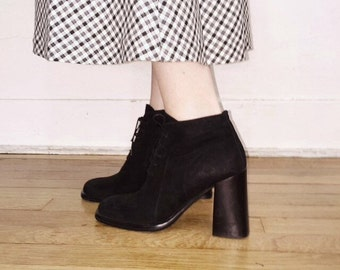 90s black suede lace up high heel boots size 8