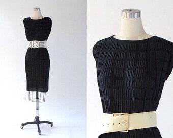 1970s Micro Pleat Tunic Dress // 70s Vintage Black Jersey Knit Sleeveless Dress // Large
