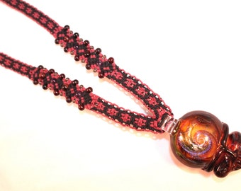 Grateful Dead inspired hemp necklace with amethyst and red tigers eye beads, macrame, deadhead, hemp jewelry, lucky stealie, micromacrame