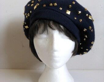 Vintage 1980s Beret  ADOLFO II Ultramarine Wool Felt Gold Studded Ladies Hat