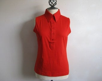 Vintage 1970s Knit Top Red-Orange Knit Sleeveless Polo Neck 70s Top Large