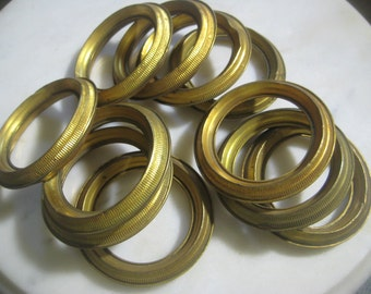 """Antique French Brass Drapery Rings; Hollow Stamped Brass Rings,  Ribbed Design, Jewelry Design, Drapery Replacement Hardware, 2 3/4"""", 11 pcs"""