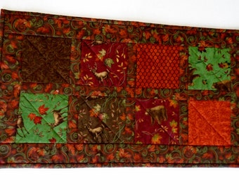 Country Quilted Table Runner in Fall Colors, Quilted Table Topper, Rustic Woodland Cabin Runner, Autumn Fall Leaves, Forest Animals Runner