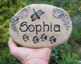 Pet Memorial stone, Custom Personalized Grave marker. Choice of designs : flowers / butterflies / ferns, heart, paw prints + more