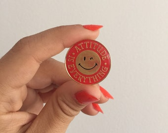 Vintage winky face Attitude is Everything enamel pin
