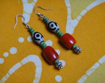 Red Coral Dzi Beaded Earrings Tribal Jewelry Gift For Her