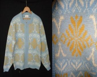 Pale Blue Vintage 1960's Women's Zip Up Cardigan Sweater L