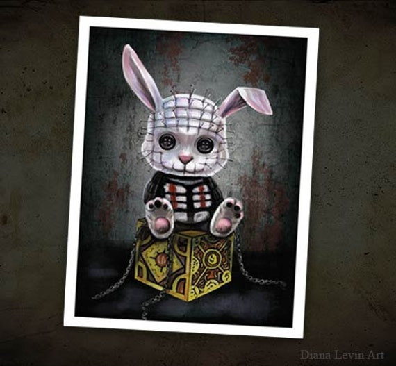 Pinhead Bunny Art Print - Horror films - Gothic Fantasy Painting