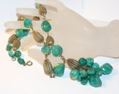 Necklace Green Swirled Lucite and Brass, 1930s Necklace