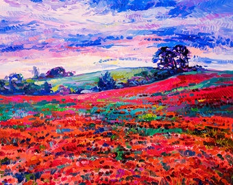 Red field2-Original oil Painting on Canvas-Modern Landscape Painting-Original Fine Art Contemporary by Ivailo Nikolov-SIZE: 24x20''
