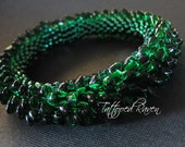 RESERVED for Potenza3: Bottle Green Dragon Scale Bangle Bracelet