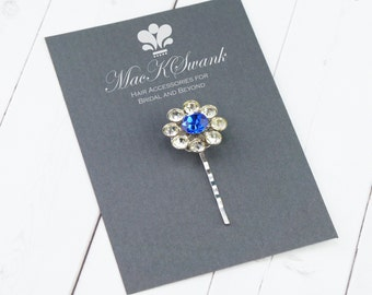 Blue Rhinestone Bobby Pin  - Vintage Hair Pin - Bridal Bobby Pin - Something Blue Hair Pin - Gift Under 15 - Unique Gift for Her