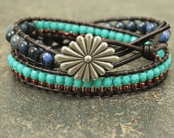 Silver Copper Turquoise Denim Blue Bracelet Colorful Unique Southwestern Style Jewelry Artisan Double Leather Wrap Bracelet