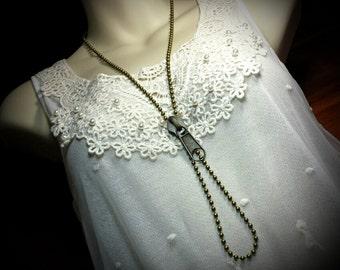 Long Zipper Dangle Steampunk Necklace, Large Zipper Pull Charm Ball Chain Victorian Pendant, Antiqued Gold Brass, Titanic Temptation Jewelry