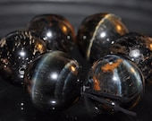 6 Pieces 14mm Highly Chatoyant~Blue Hawks TIGER EYE Large Round Bead Pendant - G1020
