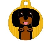 Pet ID Tag - Black and Brown Dachshund Pet Tag, Dog Tag