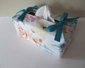 Tissue Box Cover/Pale Color Flower x Turquoise Ribbon