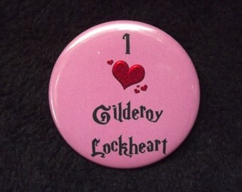 "I Heart Gilderoy Lockheart Pinback Button 2.25"" Harry Potter Inspired Fan Art"