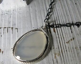 Unique Moonstone Pendant Moonstone Necklace Long Necklace Gemstone Pendant Moonstone Slice Unique Pendant Boho Necklace Artisan Necklace