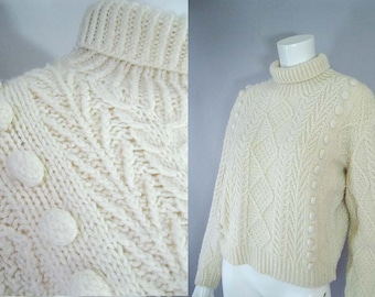 Vintage 60s Fisherman Sweater - Irish Cream Jumper - Cable Knit Cropped Sweater - Large Wool Pullover -1960s Chunky Sweater