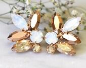 Rose Gold Champagne Cluster Earrings,Swarovski Crystal Earrings,Bridal Rose Gold Earrings,Bridesmaids Earrings,White Opal Champagne Studs