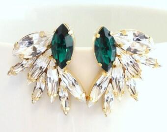 Emerald Earrings,Statement Bridal earrings,Emerald Statement Earrings,Emerald Earrings,Bridal Crystal Earrings,Gift for her,Cluster Earrings