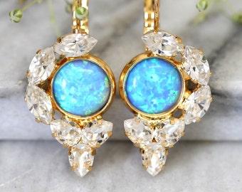 Opal Earrings, Opal Drop Earrings, Swarovski Drop Earrings, Blue Opal Earrings, Gold Opal Earrings, Gift for Her, Opal Jewelry,Opal Droplets