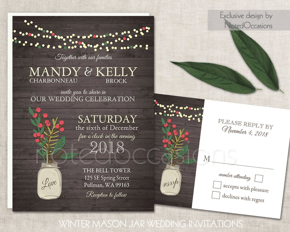 Printable Wedding Invitation Sets: Printable Wedding Invitation Set Winter Wedding Invitations
